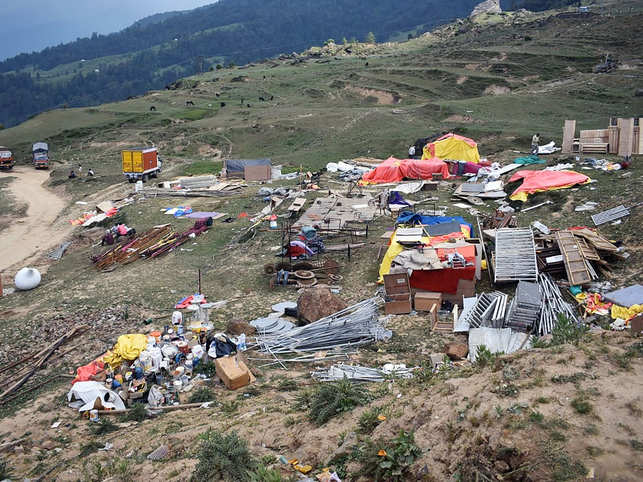 Waste left behind in Auli following the large-scale weddings hosted by the South Africa-based Gupta family. (Image: AFP)