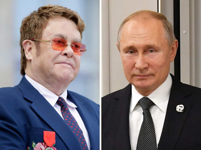 Vladimir Putin (R) had said that Russia has 'no problem with LGBT persons', but Elton John (L) pointed out that the film based on him 'Rocketman' was censored due to homosexual scenes.