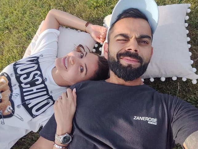 Anushka Sharma and Virat Kohli was twinning in white sneakers.