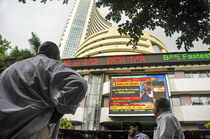 Mumbai: The stock market index on a display screen at the Bombay Stock Exchange ...