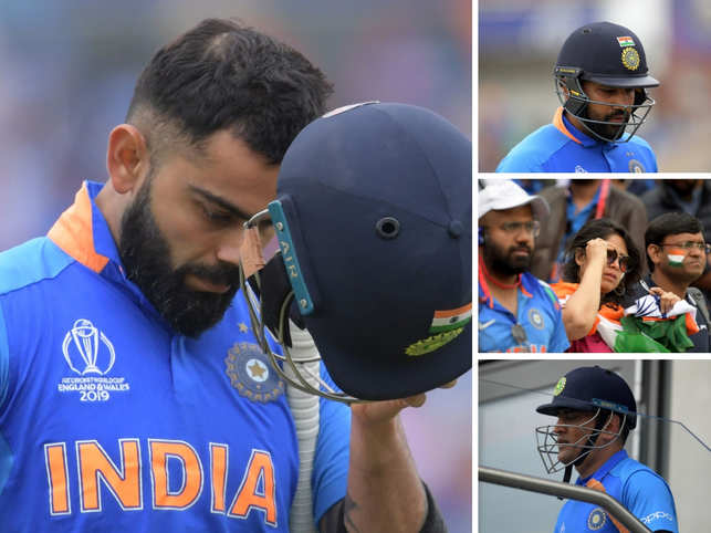 Wednesday ended on a sad note for the Indian Cricket team and all its fans. The Kohli-led squad, which clashed with New Zealand in the semi-final of 2019 World Cup, lost to the Kiwis by 18 runs. After enjoying a winning streak in the ongoing World Cup, the Men in Blue succumbed to the attack from Black Caps and lost their chance to bring the trophy home. 	 	Dejected by the defeat, some fans seemed to shed tears for their beloved team. However, it wasn't just the fans that sobbed at the loss, the Men in Blue also lived those moments of disappointment. Former captain Dhoni seemed teary-eyed as he exit the field on being run out. Kohli, too, was captured while offering consolation to his teammates. 	 	Here's a round-up of all such moments from the Old Trafford stadium.
