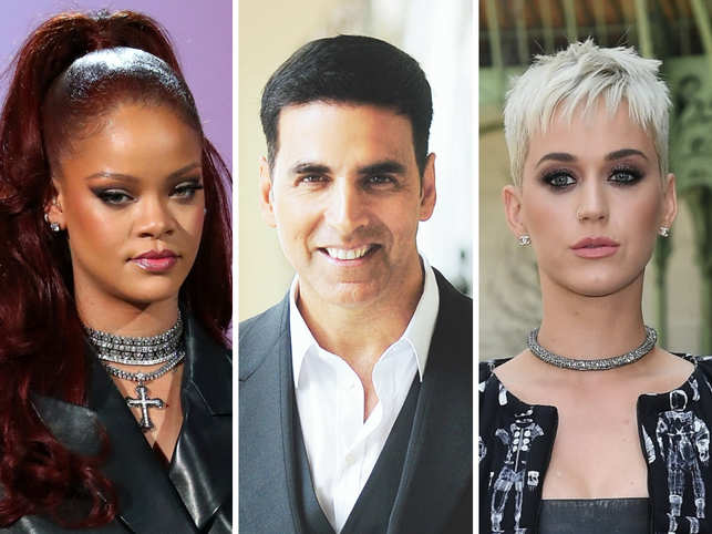 Akshay Kumar (C) was the only Bollywood star to surpass Rihanna (L) and Katy Perry (R) at 36 and 41​​ position, respectively.