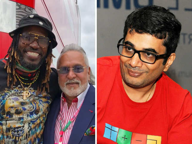 "On Chris Gayle's (L) ​​tweet, Vishal Gondal (R) requested Vijay Mallya (C) to return to India as ""special arrangements"" were in store for him. ​"
