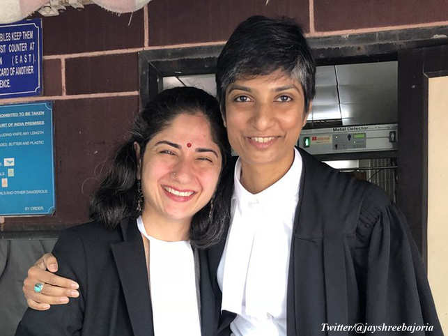 Human Rights activist Jayshree Bajoria shared an image of Arundhati Katju and Menaka Guruswamy before Supreme Court's Section 377 ruling in 2018.