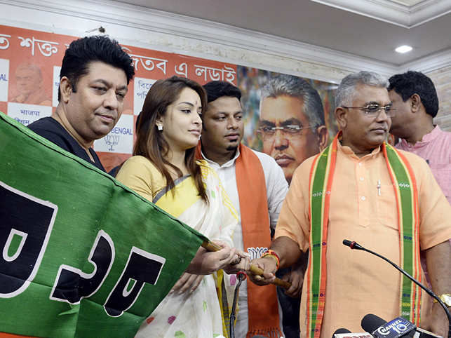 Bengali actress Rimjhim Mitra joins BJP with West Bengal BJP President Dilip Ghosh at the party headquarter in Kolkata.