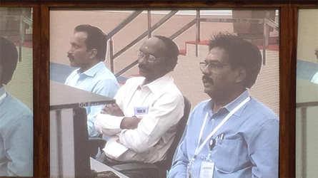 K Sivan watching Chandrayaan II trajectory from inside Sriharikota launchpad