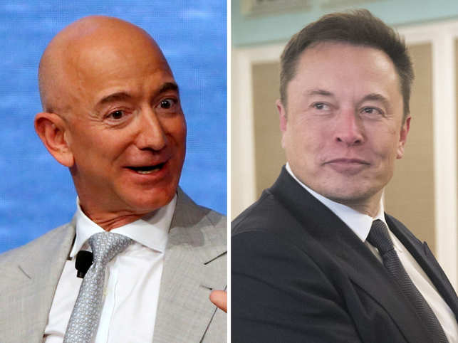 ​Blue Origin of Jeff Bezos (L) ​and SpaceX of Elon Musk​ (R)