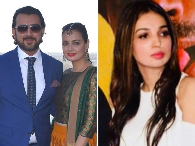 Sahil Sangha (L) and Dia Mirza (C) announced their separation around the same time as Kanika Dhillon (R) and Prakash Kovelamudi.