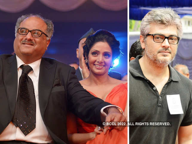 ​Ajith Kumar (R) had promised Sridevi (C) during the 'English Vinglish' shooting that he will do a film with Boney Kapoor (L).​