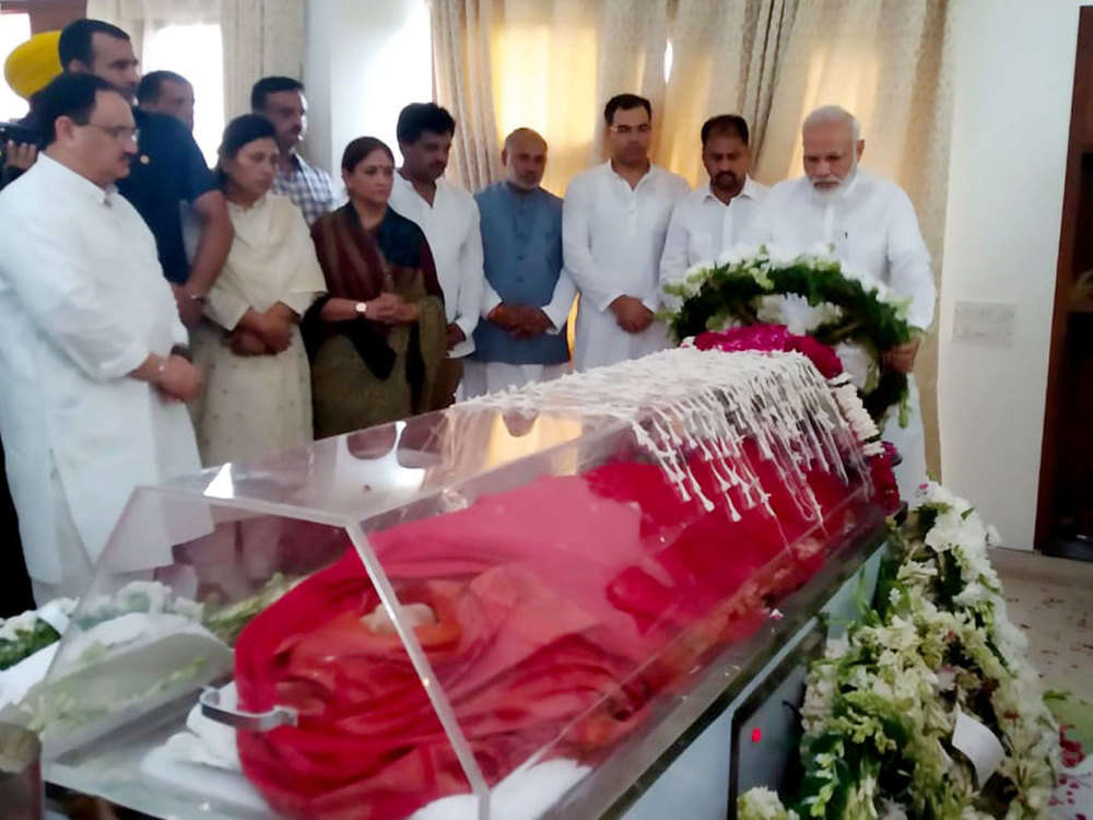 Prez, PM pay homage to Sushma Swaraj
