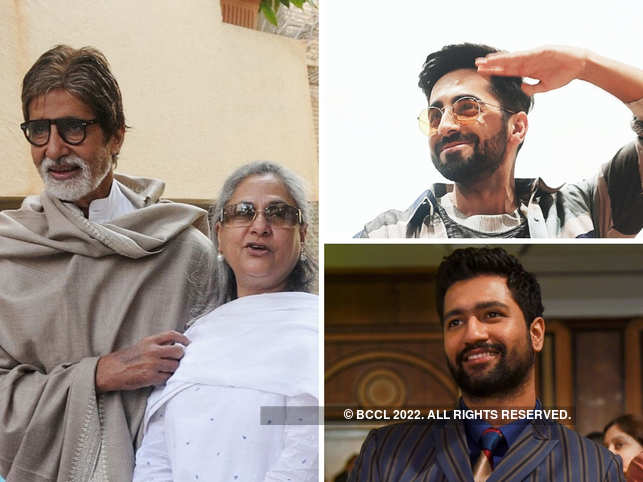 (From left clockwise) ​Amitabh Bachchan and wife Jaya sent a bouquet and hand-written notes to Ayushmann Khurrana and Vicky Kaushal.
