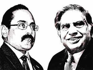 Rajeev Chandrasekhar (L) and Ratan Tata