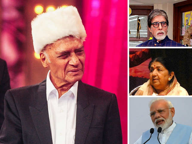 (On the right, top to bottom) Amitabh Bachchan, Lata Mangeshkar, and PM Modi took to social media to pay tribute to the music composer Khayyam.