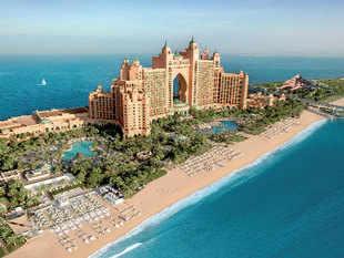 Dubai's Palm Jumeirah Island enjoys a private sandy beach, the 5-star Atlantis offers stunning views of the Arabian Gulf