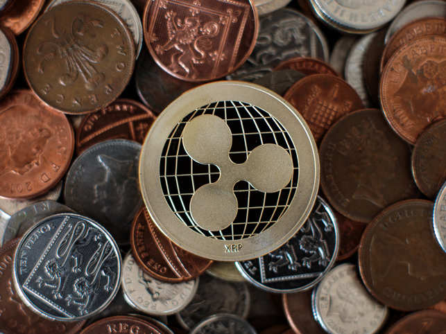 The photo shows ripple cryptocurrency 'altcoin'.