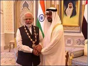 "PM Modi honoured with UAE's highest civilian award ""Order Of Zayed"""