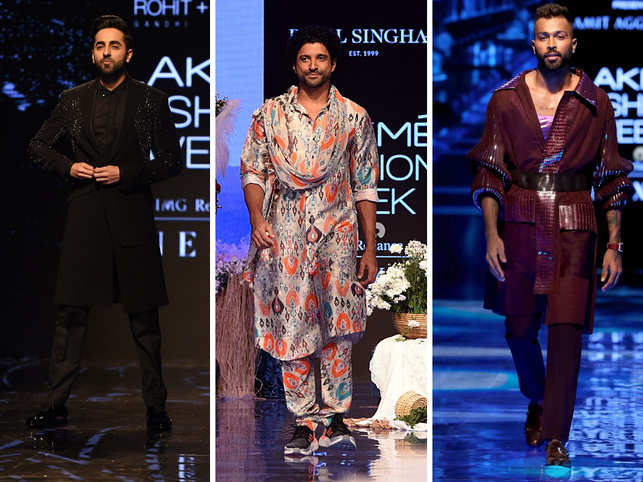 While the women strutted and waltzed down their way down the ramp in dreamy lehengas and bejewelled ensembles, it was the men that stole the show in tailored bandhgalas and glitzy jackets.In Pic (L to R): Ayushmann Khurrana for Rohit Gandhi and Rahul Khanna, Farhan Akhtar for Payal Singhal, and Hardik Pandya for designer Amit Aggarwal.