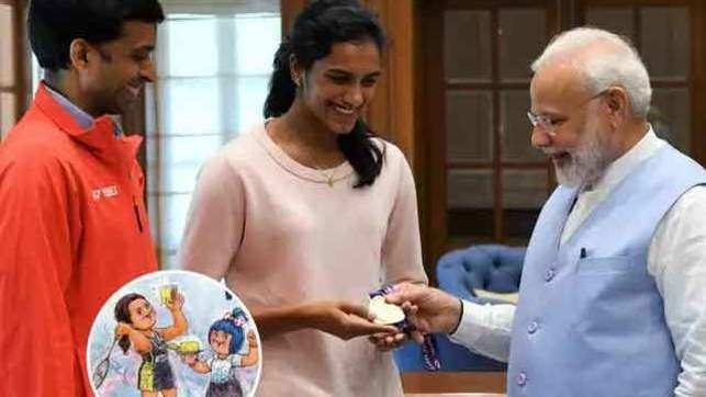 Watch: PV Sindhu meets PM Modi after winning Gold at BWF World Championships