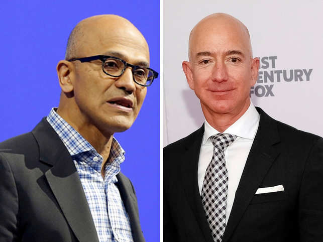 Microsoft CEO Satya Nadella has a three-rule method to make meetings more productive. The rules are: Listen more, talk less and be decisive when the time comes. Here is a look at other business leaders and their rules of engagement.(In pic: Satya Nadella, Jeff Bezos)