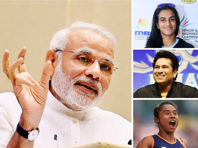 (Right - top to bottom) PV Sindhu, Sachin Tendulkar, Hima Das appreciated the Prime Minister Narendra Modi for promoting a healthy lifestyle.