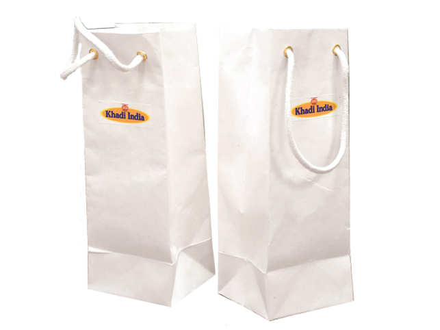 The cost of each such standard-size handmade paper bag has come down to Rs 12.10 after the plastic mix from Rs 15.50.