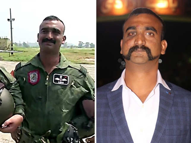 Wing Commander Abhinandan Varthaman sported a simple, trimmed moustache with a suave hairstyle.
