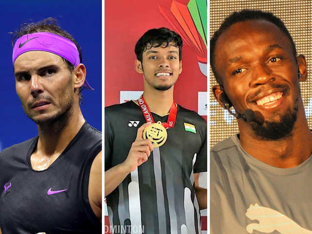 Chirag Shetty (C) is hoping to follow in Rafael Nadal (L) and Usain Bolt's (R) footsteps by emulating them.
