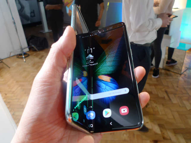 The Galaxy Fold has a 7.3-inch display that becomes a 4.6-inch screen when folded.