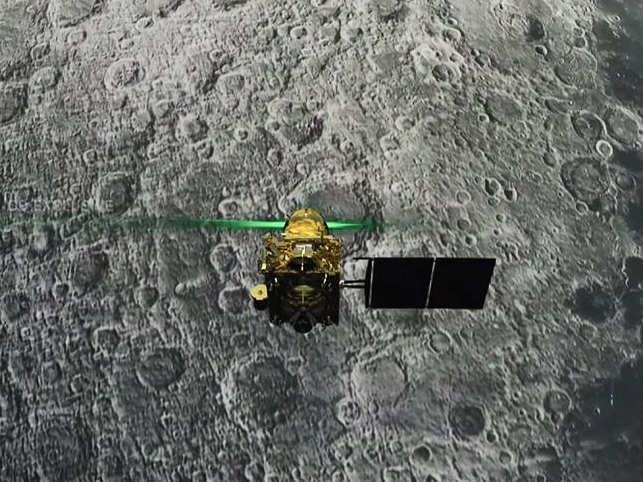 Screen grab taken last week from a live webcast by ISRO shows Vikram Lander before it is supposed to land on the Moon. 