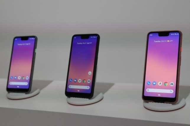 The Google Pixel 3 third generation smartphones are seen on display after a news conference in Manhattan, New York