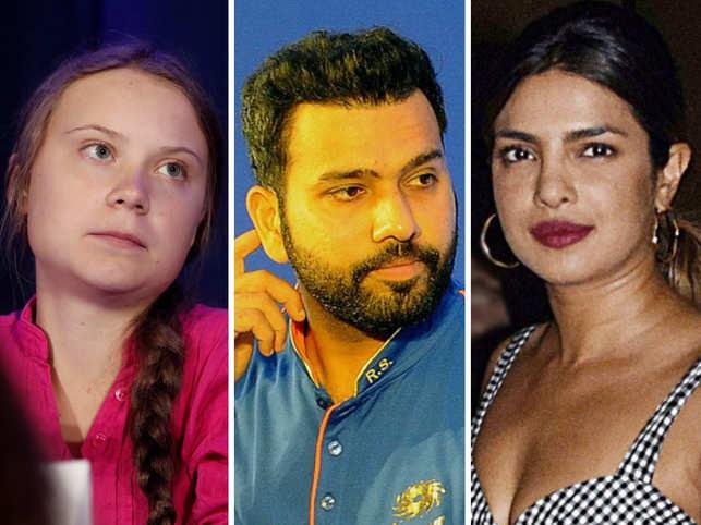 Rohit Sharma (C) and Priyanka Chopra (R) can't stop appreciating Greta Thunberg.