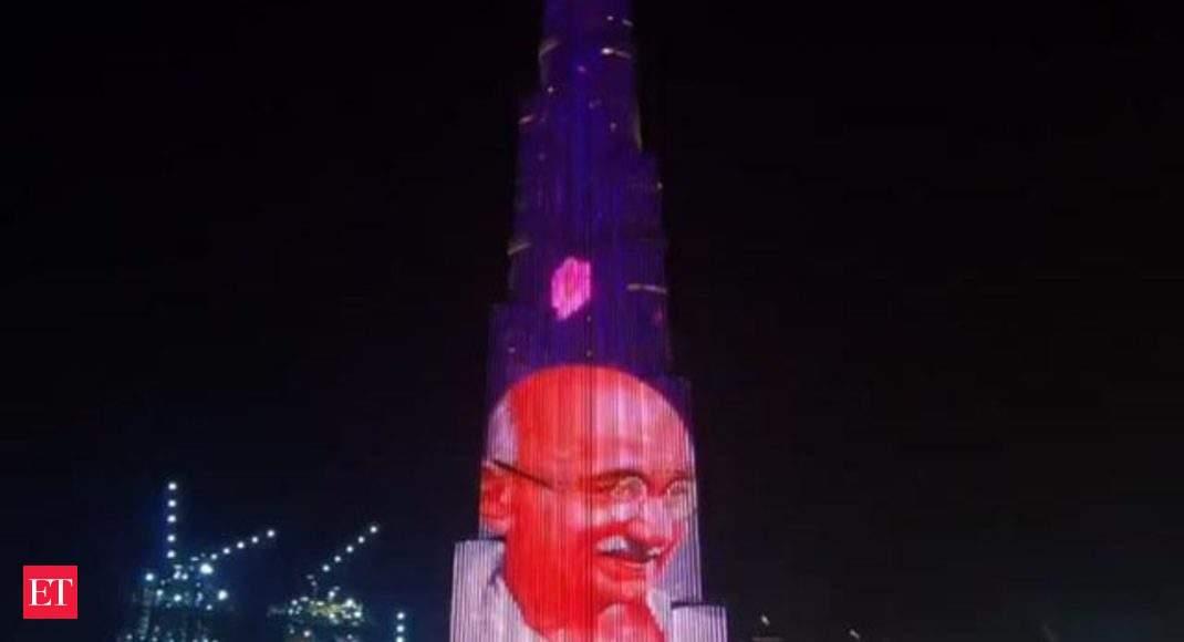 Uae Dubai S Burj Khalifa Lit Up With Mahatma Gandhi S Image On His 150th Birth Anniversary