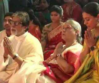 Watch: Amitabh Bachchan, Jaya Bachchan at North Bombay Sarbojanin Durga Puja pandal