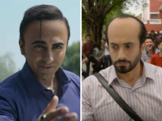 Ayushmann Khurrana (left) and Sunny Singh (right) play the roles of men suffering from male pattern baldness. (Image: YouTube/ Panorama Studios, YouTube/ Maddock Films)