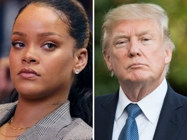 Rihanna (L)  slammed Donald Trump (R) for his responses to the El Paso and Dayton mass shootings