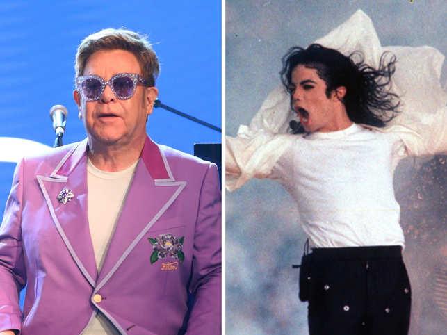 "Elon John (L) called Michael Jackson ""mentally ill"" in his memoir. (Image: Getty & AP)"