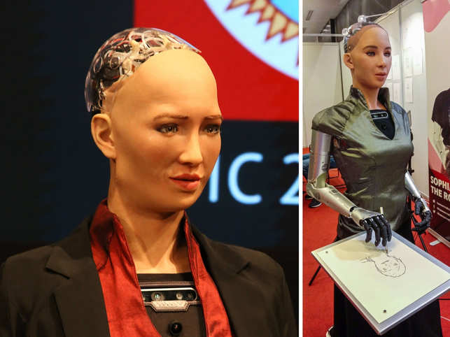 World's first robot citizen attends conference in India; makers reveal Sophia can draw now