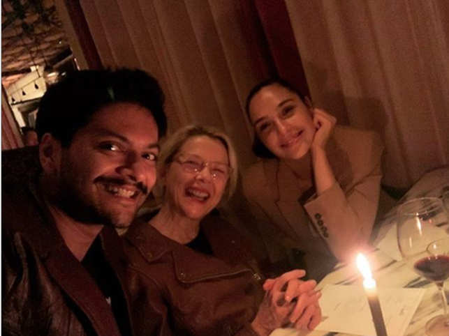 ​Ali Fazal with co-stars Gal Gadot and Annette Bening at dinner.​