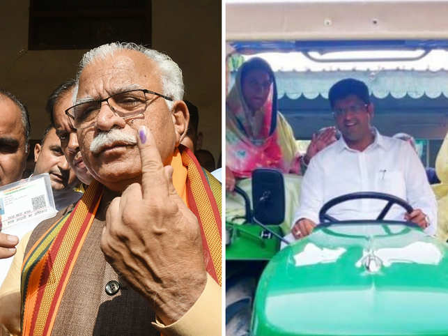 ​'All eyes on me': The Internet had a hearty laugh as ML Khattar arrived on a bicycle and Dushyant Chautala rode a tractor to the polling booth.