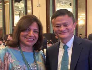 Kiran Mazumdar-Shaw meets Jack Ma in Singapore, says his journey inspires her