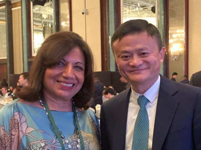 Kiran Mazumdar-Shaw (L) posted a picture with Jack Ma (R) on social media.