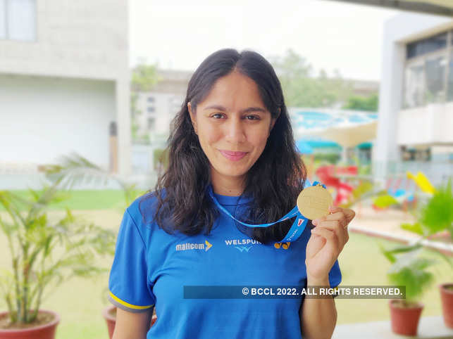 Manasi Joshi was feted after winning the World Para-Badminton title in Basel.