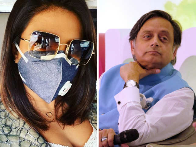 Priyanka Chopra (L) shared a picture of herself wearing a mask on Instagram, while Shashi Tharoor (R) shared a quote on how the National Capital is becoming injurious to health.