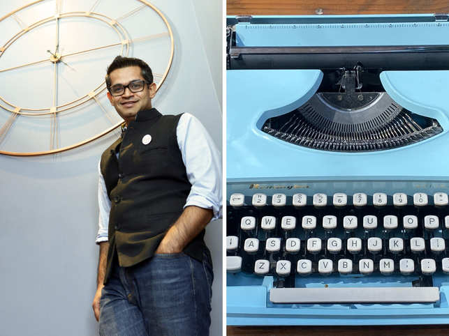 The blue typewriter (right) fits perfectly with the 'coastal' theme of Wardhan's (left) room.