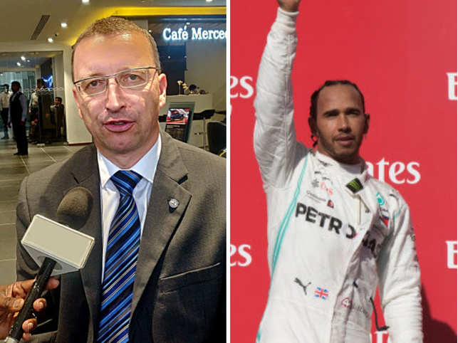 Mercedes-Benz India head Martin Schwenk (left) remembers the time he met F1 champion Lewis Hamilton (right).
