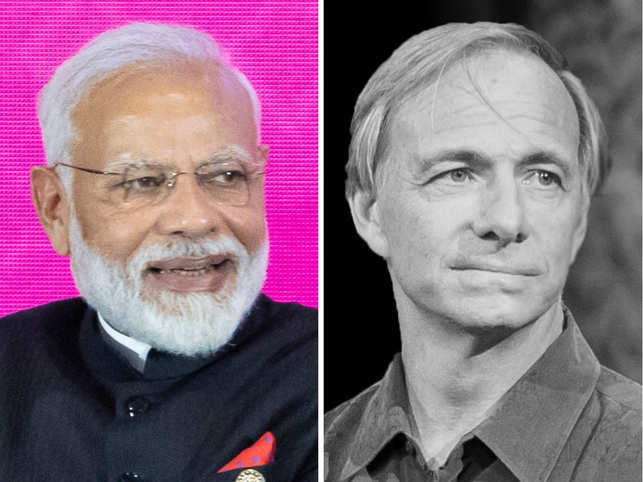 "Ray​ Dalio (L) praised PM Modi for doing ""many remarkable things"" in India.​"