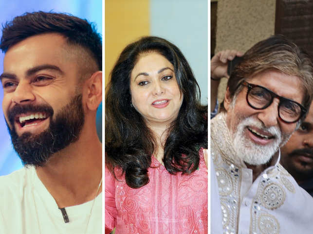 Virat Kohli (left), Tina Ambani (centre) and Amitabh Bachchan (right) sent greetings on the auspicious occasion of Gurupurab.