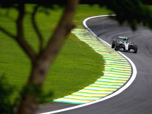 Nico Rosberg of Germany and Mercedes GP during the Formula One Grand Prix of Brazil at Autodromo Jose Carlos Pace in 2015.