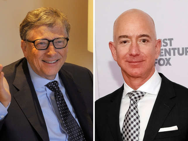 Bill Gates (L )had briefly topped Bezos (R) on an intraday basis last month after Amazon posted its first profit drop in two years.