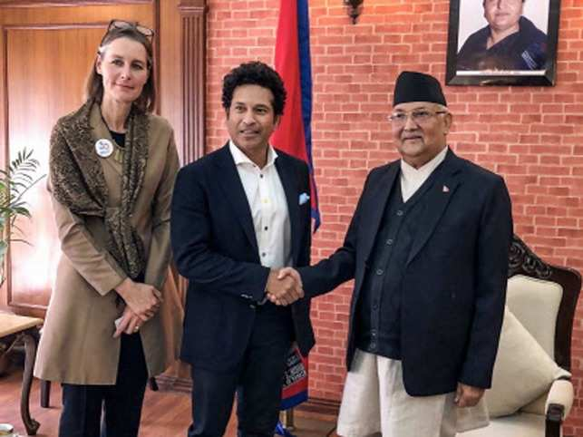 Sachin Tendulkar meets Nepal Prime Minister, KP Oli, during his visit, in Kathmandu.